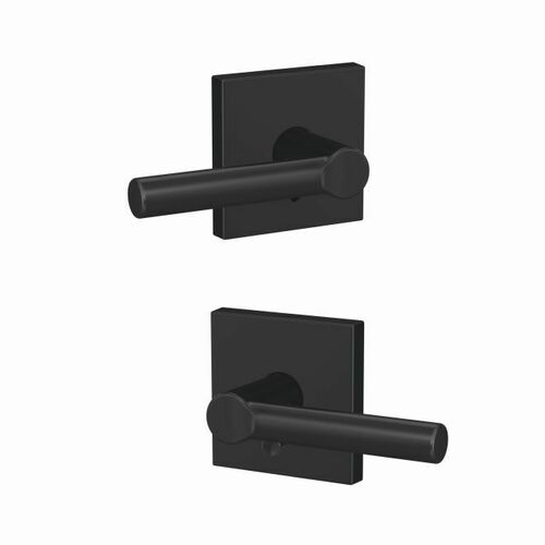 Schlage FC21BRW622COL Broadway Lever with Collins Rose Passage and Privacy Lock with 16600 Latch and 10027 Strike Matte Black Finish