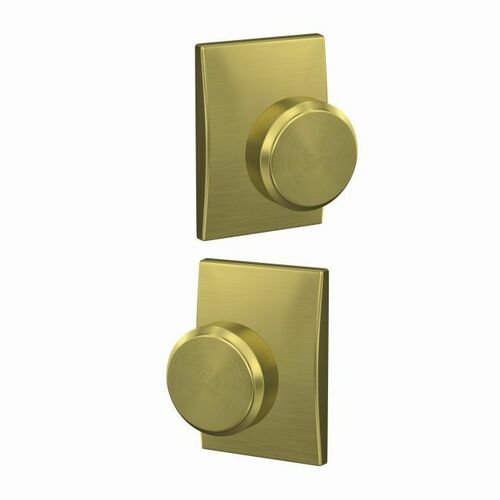 Schlage FC21BWE608CEN Bowery Knob with Century Rose Passage and Privacy Lock with 16600 Latch and 10027 Strike Satin Brass Finish