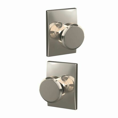 Schlage FC21BWE618CEN Bowery Knob with Century Rose Passage and Privacy Lock with 16600 Latch and 10027 Strike Bright Nickel Finish