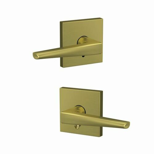 Schlage FC21ELR608COL Eller Lever with Collins Rose Passage and Privacy Lock with 16600 Latch and 10027 Strike Satin Brass Finish