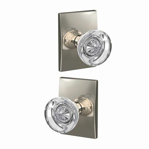 Schlage FC21HOB618CEN Hobson Knob with Century Rose Passage and Privacy Lock with 16600 Latch and 10027 Strike Bright Nickel Finish