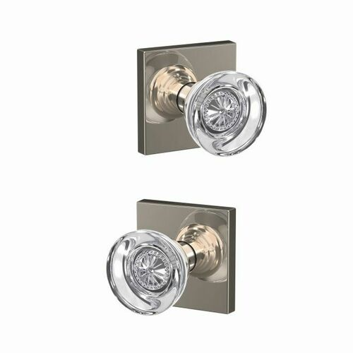 Schlage FC21HOB618COL Hobson Knob with Collins Rose Passage and Privacy Lock with 16600 Latch and 10027 Strike Bright Nickel Finish