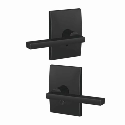 Schlage FC21LAT622CEN Latitude Lever with Century Rose Passage and Privacy Lock with 16600 Latch and 10027 Strike Matte Black Finish