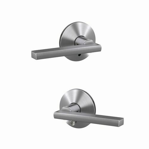 Schlage FC21LAT626KIN Latitude Lever with Kinsler Rose Passage and Privacy Lock with 16600 Latch and 10027 Strike Satin Chrome Finish