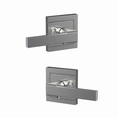 Schlage FC21NBK625ULD Northbrook Lever with Upland Rose Passage and Privacy Lock with 16600 Latch and 10027 Strike Bright Chrome Finish