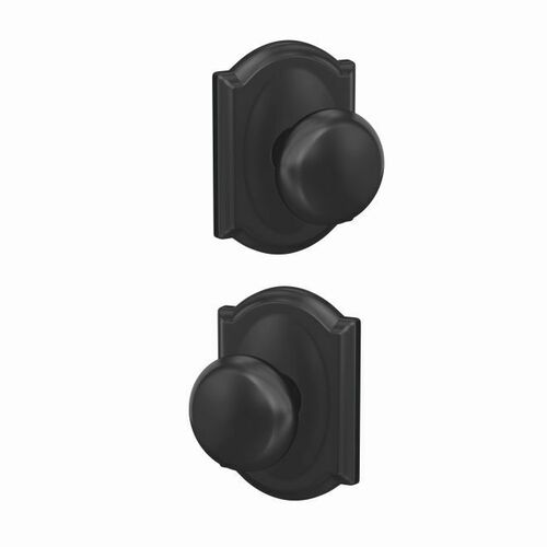 Schlage FC21PLY622CAM Plymouth Knob with Camelot Rose Passage and Privacy Lock with 16600 Latch and 10027 Strike Matte Black Finish