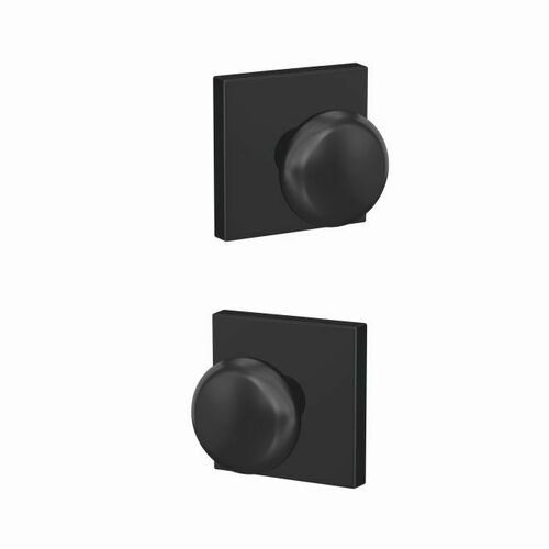 Schlage FC21PLY622COL Plymouth Knob with Collins Rose Passage and Privacy Lock with 16600 Latch and 10027 Strike Matte Black Finish
