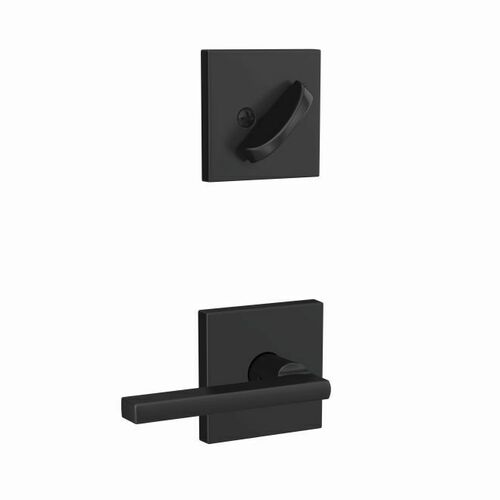 Schlage FC59LAT622COL Custom Latitude Lever with Collins Rose Interior Active Trim with 16680 Latch and 10269 Strike Matte Black Finish