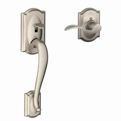 Schlage FE285CAM619ACCCAMRH Right Hand Camelot with Accent Lever with Camelot Rose Bottom Half Handleset with 16080 Latch and 10063 Strike Satin Ni...