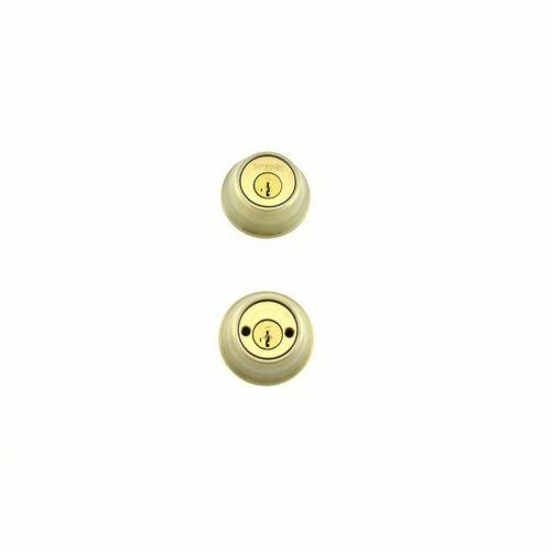 Weiser Lock GDC93715S Double Cylinder Deadbolt with Smart Key with Round Corner Adjustable Latch and Round Corner Strike Antique Brass Finish