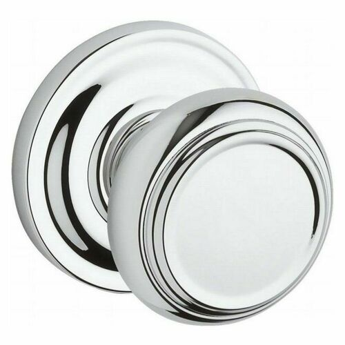 Baldwin HDTRATRR260 Half Dummy Traditional Knob and Traditional Round Rose Bright Chrome Finish