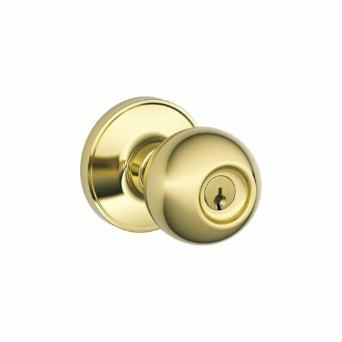 Dexter J54CNA605 Entry Lock Corona with C Keyway, Adjustable Latch and Radius Strike Bright Brass Finish