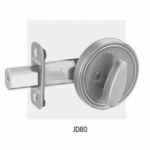 Dexter JD80609 One Sided Deadbolt with Adjustable Latch and Radius Strike Antique Brass Finish