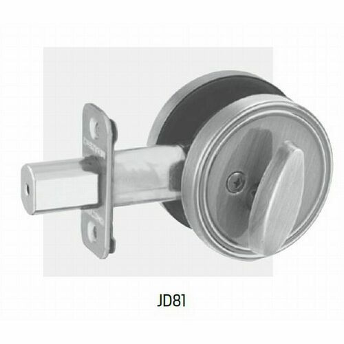 Dexter JD81630 One Sided Deadbolt With Plate with Adjustable Latch and Radius Strike Satin Stainless Steel Finish