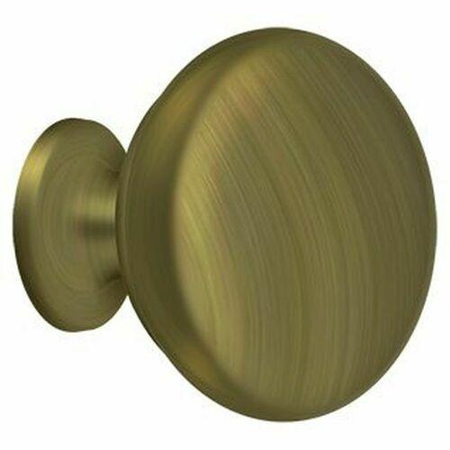 Deltana KR114U5 Knob Round Solid, Antique Brass
