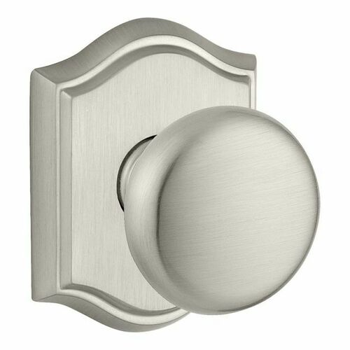 Baldwin PSROUTAR150 Passage Round Knob and Traditional Arch Rose with 6AL Latch and Dual Strike Satin Nickel Finish