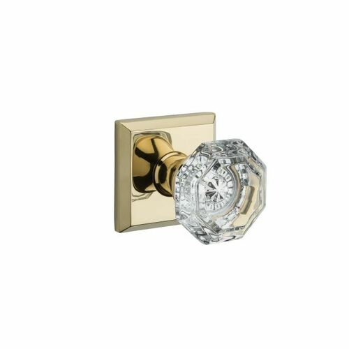 Baldwin PVCRYTSR003 Privacy Crystal Knob and Traditional Square Rose with 6AL Latch and Dual Strike Lifetime Brass Finish