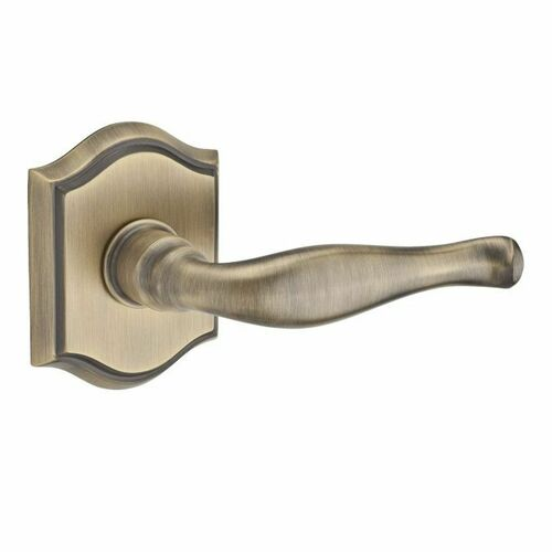 Baldwin PVDECTAR049 Privacy Decorative Lever and Traditional Arch Rose with 6AL Latch and Dual Strike Matte Brass and Black Finish