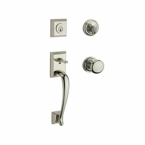 Baldwin SCNAPXROUTRR141 Single Cylinder Napa Handleset Round Knob and Traditional Round Rose with 6AL Latch and Dual Strike Bright Nickel Finish