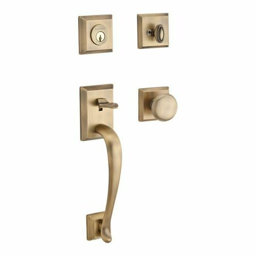 Baldwin SCNAPXROUTSR049S Single Cylinder Napa Handleset Round Knob and Traditional Square Rose with 6AL Latch, Dual Strike, and SmartKey Matte Bras...